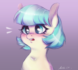 Size: 1771x1596 | Tagged: safe, artist:buttersprinkle, coco pommel, earth pony, blushing, bust, cocobetes, cute, female, missing accessory, simple background, solo
