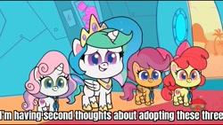 Size: 1136x640 | Tagged: safe, edit, edited screencap, screencap, apple bloom, princess celestia, scootaloo, sweetie belle, alicorn, earth pony, pegasus, unicorn, dol-fin-ale, my little pony: pony life, spoiler:pony life s01e18, adoption, adorabloom, caption, cute, cutealoo, cutie mark crusaders, diasweetes, image macro, text