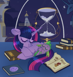 Size: 2047x2147 | Tagged: safe, artist:n in a, spike, twilight sparkle, dragon, pony, unicorn, book, cute, duo, eyes closed, female, floppy ears, high res, hourglass, male, mare, night, resting, sleeping, spikabetes, tail sucking, twiabetes, twilight's canterlot home, unicorn twilight