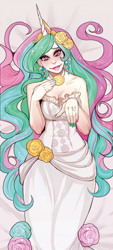 Size: 800x1771 | Tagged: safe, artist:mellifluousadventure, artist:simonadventure, princess celestia, human, breasts, cleavage, clothes, dakimakura cover, dress, ear piercing, female, flower, flower in hair, horn, horned humanization, humanized, jewelry, lipstick, long hair, long nails, looking at you, nail polish, piercing, ring, rose, solo, teary eyes, tiara