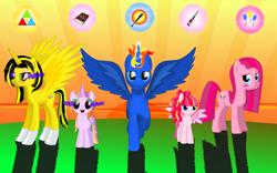 Size: 1920x1200 | Tagged: safe, artist:trickynicky, pinkie pie, oc, oc:knightly night, alicorn, earth pony, pegasus, alicorn oc, cutie mark, family, horn, wings