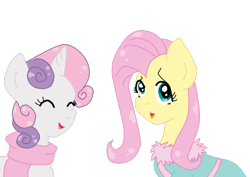 Size: 584x413 | Tagged: safe, artist:wrath-marionphauna, fluttershy, sweetie belle, clothes, cute, diasweetes, digital art, scarf, simple background, smiling, transparent background