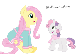 Size: 785x555 | Tagged: safe, artist:wrath-marionphauna, fluttershy, sweetie belle, clothes, cute, diasweetes, digital art, looking at each other, open mouth, scarf, simple background, smiling, transparent background