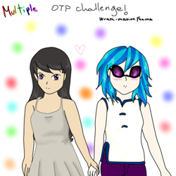 Size: 500x500 | Tagged: safe, artist:wrath-marionphauna, dj pon-3, octavia melody, vinyl scratch, human, blushing, digital art, female, humanized, lesbian, scratchtavia, shipping, sunglasses