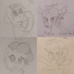 Size: 1773x1773 | Tagged: safe, artist:wrath-marionphauna, pinkie pie, torque wrench, yona, earth pony, pony, yak, blushing, box, eyes closed, female, feminism, happy, lineart, mare, pencil drawing, ponified, pony in a box, rosie the riveter, smiling, spanish, traditional art, we can do it!