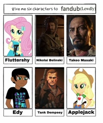 Size: 994x1191 | Tagged: safe, artist:flutterpanzer, applejack, fluttershy, six fanarts, equestria girls, beard, bust, call of duty, clothes, crossover, facial hair, female, freckles, gun, hat, male, nikolai belinski, takeo masaki, tank dempsey, weapon