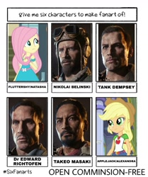 Size: 1080x1290 | Tagged: safe, artist:flutterpanzer, applejack, fluttershy, human, six fanarts, equestria girls, beard, bust, call of duty, clothes, crossover, edward richtofen, facial hair, female, freckles, hat, male, nikolai belinski, takeo masaki, tank dempsey