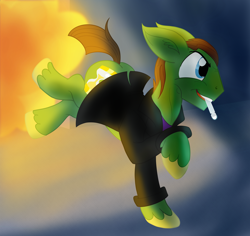 Size: 2304x2174 | Tagged: safe, artist:sixes&sevens, doctor whooves, big ears, doctor who, explosion, mouth hold, ninth doctor, running, sonic screwdriver