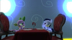Size: 1024x575 | Tagged: safe, artist:undeadponysoldier, rumble, spike, dragon, pony, 3d, candle, colt, date, dinner table, fork, gay, gmod, lidded eyes, looking at each other, male, plate, restaurant, romantic, rumblespike, shipping, silverware