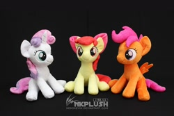 Size: 1280x854 | Tagged: safe, artist:nekokevin, apple bloom, scootaloo, sweetie belle, earth pony, pegasus, pony, unicorn, black background, bow, cutie mark crusaders, female, filly, hair bow, irl, looking at you, photo, plushie, simple background, sitting, smiling, spread wings, trio, watermark, wings