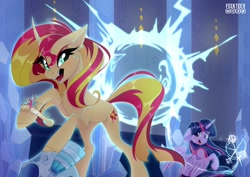 Size: 2560x1816   Tagged: safe, artist:feekteev, sunset shimmer, twilight sparkle, alicorn, pony, unicorn, equestria girls, equestria girls (movie), big crown thingy, chest fluff, crown, crying, crystal castle, duo, ear fluff, element of magic, fangs, female, floppy ears, helmet, jewelry, looking back, magic, mare, open mouth, regalia, scene interpretation, stealing, teleportation, twilight sparkle (alicorn)
