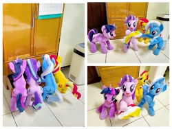 Size: 1280x960 | Tagged: safe, artist:nekokevin, starlight glimmer, sunset shimmer, trixie, twilight sparkle, pony, unicorn, series:nekokevin's glimmy, ball, bipedal, drawer, female, holding a pony, irl, looking at you, magical quartet, mare, open mouth, photo, plushie, smiling, underhoof, unicorn twilight