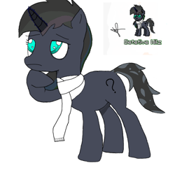 Size: 860x836 | Tagged: safe, artist:wilwil000, oc, oc:detetive wilz, pony, unicorn, pony town, base used, brazil, detective, first drawing, looking up, male, pose, simple background, white background