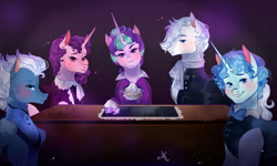 Size: 1380x828 | Tagged: safe, artist:bunnari, double diamond, night glider, party favor, starlight glimmer, sugar belle, earth pony, pegasus, pony, unicorn, alternate universe, female, male, mare, stallion, story included