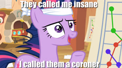 Size: 1920x1080 | Tagged: safe, edit, edited screencap, screencap, twilight sparkle, it's about time, caption, golden oaks library, image macro, implied murder, meme, solid sparkle, solo, text, twilight gone mad