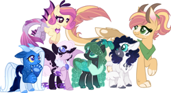 Size: 1280x703 | Tagged: safe, artist:berry-siren, oc, oc only, oc:crescent moon, oc:giant apple, oc:ice storm, oc:love song, oc:night light, oc:star struck, hybrid, base used, female, interspecies offspring, magical lesbian spawn, offspring, parent:adagio dazzle, parent:applejack, parent:discord, parent:lord tirek, parent:nightmare moon, parent:princess cadence, parent:queen chrysalis, parent:rarity, parent:storm king, parent:ursa minor, parents:applecord, parents:nightrarity, simple background, transparent background