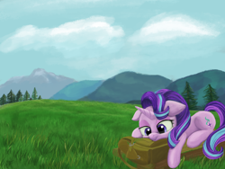 Size: 4000x3000 | Tagged: safe, artist:flusanix, starlight glimmer, pony, unicorn, bag, high res, hiking, lying down, mountain, solo