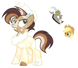 Size: 1024x888 | Tagged: safe, artist:sapphiretwinkle, applejack, discord, oc, hybrid, female, interspecies offspring, offspring, parent:applejack, parent:discord, parents:applecord, simple background, transparent background