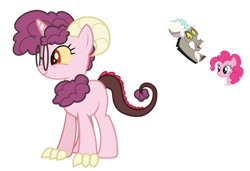 Size: 1024x700 | Tagged: safe, artist:sapphiretwinkle, discord, pinkie pie, female, glasses, interspecies offspring, offspring, parent:discord, parent:pinkie pie, parents:discopie, simple background, transparent background