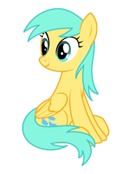 Size: 1275x1650 | Tagged: safe, artist:three uncle, sunshower raindrops, pegasus, pony, the summer sun setback, background pony, blue mane, cute, female, folded wings, mare, simple background, sitting, smiling, transparent background, wings