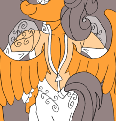 Size: 1175x1225 | Tagged: safe, artist:supra80, oc, oc:cold front, anthro, pegasus, anthro oc, clothes, crossdressing, dress, dressing, femboy, hand on hip, looking back, looking over shoulder, male, pegasus oc, photoshop, see-through, wedding dress, wings, wip, zipper