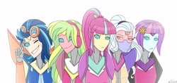 Size: 3045x1436 | Tagged: safe, artist:elioo, indigo zap, lemon zest, sour sweet, sugarcoat, sunny flare, equestria girls, cybertronian, looking at you, shadow five, species swap, transformers