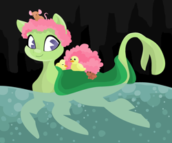 Size: 2564x2124 | Tagged: safe, artist:smirk, frog, mouse, original species, plant pony, duckling, flippers, legitimately amazing mspaint, lilypad, ms paint, petals, plant, solo