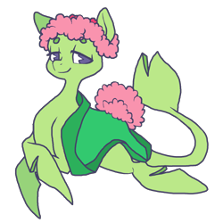 Size: 2132x2128 | Tagged: safe, artist:smirk, oc, oc only, original species, plant pony, flippers, legitimately amazing mspaint, lidded eyes, lilypad, ms paint, plant, simple background, transparent background