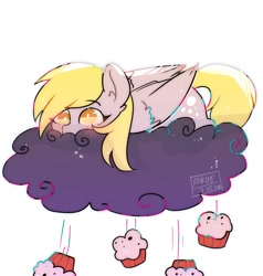 Size: 1750x1838 | Tagged: safe, artist:riukime, derpy hooves, pegasus, pony, blushing, cloud, cute, cutie mark, derpabetes, female, food, lying on a cloud, mare, muffin, on a cloud, prone, rain, signature, simple background, solo, white background, wings