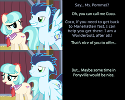 Size: 1999x1607   Tagged: safe, artist:mlp-silver-quill, coco pommel, soarin', earth pony, pegasus, pony, comic:pinkie pie says goodnight, barn, clueless, female, flirting, grin, implied soarinpommel, innocent, male, mare, oblivious, ponyville, pouting, shipping denied, smiling, soarinpommel, stallion, sweet apple acres barn