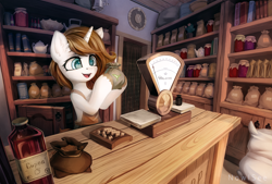 Size: 2500x1693 | Tagged: safe, artist:inowiseei, oc, oc only, pony, unicorn, abacus, book, bottle, clock, clothes, counter, cup, cyrillic, female, flour sack, food, high res, holding, jar, mare, merchant, open mouth, russian, samovar, scale, shop, smiling, solo, tea, teacup