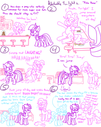 Size: 4779x6013 | Tagged: safe, artist:adorkabletwilightandfriends, cup cake, pinkie pie, twilight sparkle, alicorn, comic:adorkable twilight and friends, adorkable, adorkable twilight, adorkable twilight and friends fanart, apron, clothes, comic, counter, cute, dork, exercise, fitness, goofy, happy, hopping, humor, jumping, laughing, metabolism, silly, smiling, stool, sugarcube corner, twilight sparkle (alicorn)