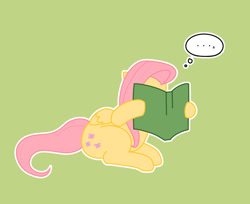 Size: 836x682   Tagged: safe, artist:dieva4130, fluttershy, pegasus, pony, ..., book, covering face, cute, female, green background, hoof hold, mare, reading, shyabetes, simple background, sitting, solo, thought bubble