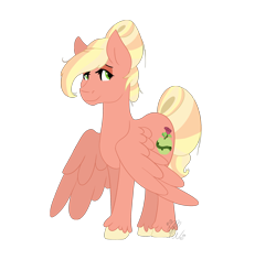 Size: 2042x2010 | Tagged: safe, artist:cyanreef, oc, oc only, oc:ambrosia apple, pegasus, pony, hair bun, offspring, parent:big macintosh, parent:fluttershy, parents:fluttermac, simple background, solo, tail bun, transparent background