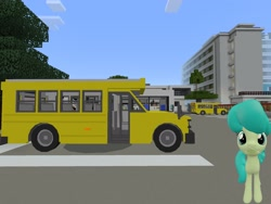 Size: 2048x1536 | Tagged: safe, artist:topsangtheman, green jewel, earth pony, pony, 3d, house, looking at you, minecraft, photoshopped into minecraft, school bus, solo, source filmmaker
