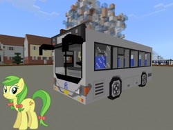 Size: 2048x1536 | Tagged: safe, artist:eugenebrony, artist:topsangtheman, apple fritter, earth pony, pony, apple family member, bus, house, looking at you, minecraft, photoshopped into minecraft, solo