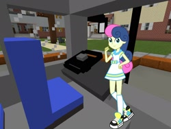 Size: 2048x1536 | Tagged: safe, artist:razethebeast, artist:topsangtheman, bon bon, sweetie drops, equestria girls, bus, looking at you, minecraft, solo
