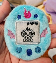 Size: 1818x2048 | Tagged: safe, artist:sew_adorkable, artist:trashkitten-plushies, princess ember, buttons, cute, dragon lord ember, emberbetes, embroidery, irl, photo, plushie, solo