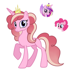 Size: 1280x1278 | Tagged: safe, artist:tenderrain46, pinkie pie, princess cadance, oc, pony, unicorn, female, magical lesbian spawn, mare, offspring, parent:pinkie pie, parent:princess cadance, simple background, transparent background