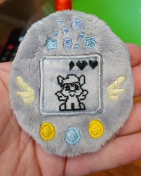 Size: 1647x2048 | Tagged: safe, artist:sew_adorkable, artist:trashkitten-plushies, derpy hooves, pegasus, cute, derpabetes, embroidery, irl, photo, plushie, solo, tamagotchi