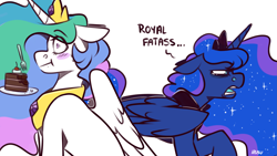 Size: 3555x2000   Tagged: safe, artist:lrusu, princess celestia, princess luna, alicorn, pony, cake, cakelestia, dialogue, digital art, female, food, mare, royal sisters, sisters, surprised, this will end in tears and/or a journey to the moon, this will not end well