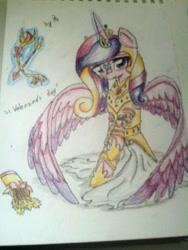 Size: 960x1280 | Tagged: safe, artist:kiwwsplash, princess cadance, alicorn, pony, armor, arrow, bow (weapon), female, glowing horn, horn, magic, mare, solo, teddy bear, telekinesis, traditional art