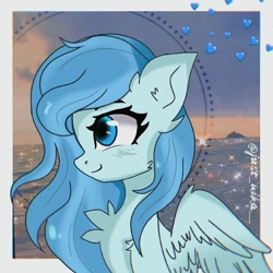 Size: 1080x1080 | Tagged: dead source, safe, artist:just_nika__, oc, oc only, pegasus, pony, bust, chest fluff, ear fluff, one eye closed, pegasus oc, solo, wings, wink