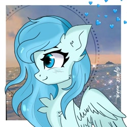 Size: 1080x1080 | Tagged: dead source, safe, alternate version, artist:just_nika__, oc, oc only, pegasus, pony, bust, chest fluff, ear fluff, one eye closed, pegasus oc, solo, wings, wink