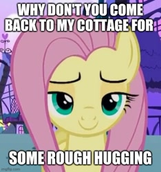 Size: 500x535 | Tagged: safe, edit, edited screencap, screencap, fluttershy, flutter brutter, caption, cropped, image macro, imminent sex, lidded eyes, looking at you, painfully innocent fluttershy, solo, text