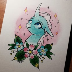 Size: 2196x2198 | Tagged: safe, artist:coracartmell, ocellus, changeling, human, cute, diaocelles, irl, photo, solo, tattoo, traditional art, watercolor painting