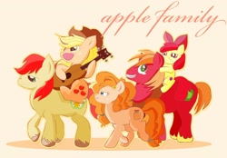 Size: 2000x1395 | Tagged: safe, artist:j5ajj, apple bloom, applejack, big macintosh, bright mac, pear butter, crying, digital art, guitar, musical instrument, nostalgia, tears of joy
