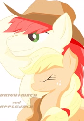 Size: 2852x4096 | Tagged: safe, artist:j5ajj, applejack, bright mac, applejack's hat, cowboy hat, digital art, eyes closed, father and child, father and daughter, female, freckles, hat, male