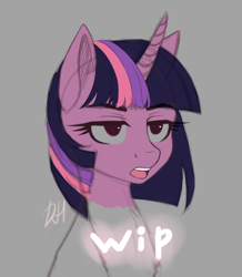 Size: 1328x1520 | Tagged: safe, artist:xuczio, twilight sparkle, pony, unicorn, bust, female, no pupils, portrait, sketch, solo, twilight is not amused, unamused, unicorn twilight, wip