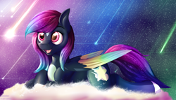 Size: 3832x2196 | Tagged: safe, artist:notetaker, oc, oc only, oc:astral empyrean, pegasus, cloud, female, mare, shooting star, solo, wings